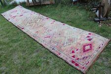 "Vintage Handmade Turkish Pink Oushak Runner Rug 12'9""x3'2"""