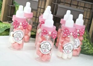 12 24 Fillable Bottles Baby Shower Favors Blue Pink Party Decorations Girl Boy