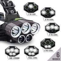 90000LM 5X T6 LED Headlamp Rechargeable Headlight Light Flashlight Torch Head L