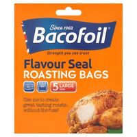5 Size Large Bacofoil Flavour Seal Roasting Bags & Ties Oven Roast Non Stick