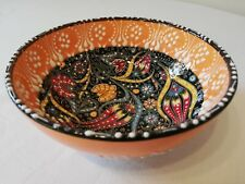 Traditional Turkish Hand Painted Ceramic Bowl - 6 inches Diameter. NEW