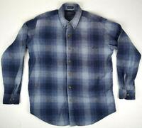 Vintage Soft Blue Shadow Plaid Flannel Casual Shirt S/M 80s Kurt Cobain Grunge