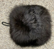 Vintage Womens Unbranded Muff Black Fox Fur Inner Zipper Carrying Strap
