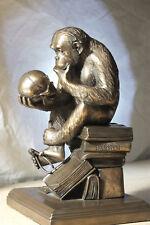 affe mit schädel,bronziert,19x10cm,darwin,figur,skulptur,Hugo Rheinhold,replikat