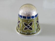 STERLING SILVER AND ENAMEL THIMBLE - HANDMADE IN INDIA - NEW (#9)