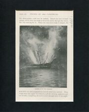 Blowing Up Of The USS Congress Civil War Original Book Photo Display