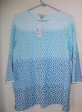 Women's  Christopher & Banks White Blue  Prints Sweater  Top Sz  X