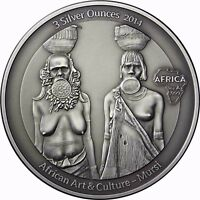 Mursi 3 Silver Ounces 2014 Afrika Serie Kongo 2000 Francs Antik Finish 3 Oz