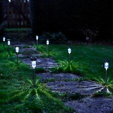 Vinsani 10 X Stainless Steel Solar Powered Garden Outdoor Stick Post LED Lights