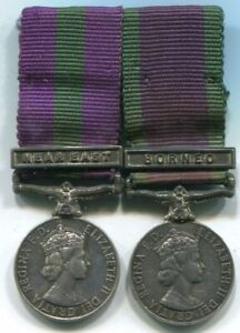 Miniature Medals - Old Silver E2 GSM clasp Near East CSM E2 clasp Borneo mounted