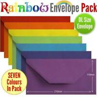 105 Colourful Rainbow Envelopes. Multi Coloured DL Gummed Rainbow Coloured