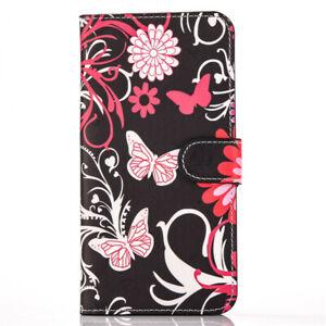 Butterflies Flowers Magnetic Flip Card Pockets PU Leather Hard Phone Case Wallet