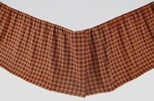 "Burgundy Check Country King Bed Skirt Red Tan Split Corners Platform 16"" Drop"