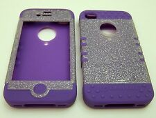Silicone Case for iPhone 4 4S Glitter Purple Skin
