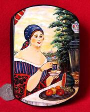 Lacquer Box Russian Trinket Kustodiev Hand Painted Merchant Wife Papier Mache