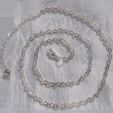 1 chaine collier sautoir metal argente maillon 4x3mm 45cm+5cm mousqueton *C120