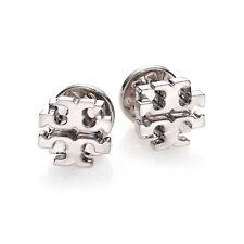 Tory Burch SILVER Small T Logo Stud Earrings