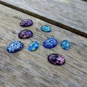 Colorful Foil Cabochon 10x14 13x18mm Oval Plastic Embellishment Cabs Bead