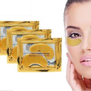 Under Eye Gel Mask Anti Ageing 24k Gold  Collagen Wrinkle Bag Remover 10 pcs