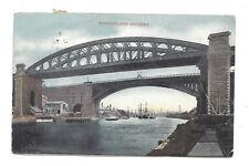 Vintage postcard Sunderland Bridges. Single ring cancel SEDGEFIELD 1907 & duplex