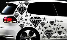93-pièces Diamant Étoiles Étoile Autocollants Pour Voiture Kit Étiquette