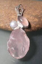Sterling silver uncut rose quartz, pearl & cab rose quartz pendant. Gift bag.
