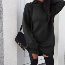 UK Women Ladies Knitted Baggy Sweater Jumper Mini Dress Winter Long Pullover Top
