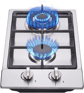 """Gas Stove Gas Cooktop 2 Burners, 12"""" Built-In Portable Gas Cooker Stainless Stee"""