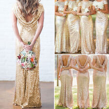 New Formal Evening Ball Gown Party Prom Gold Sequin Bridesmaid Backless Dresses