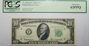 1950D $10 FEDERAL RESERVE NOTE PCGS 63PPQ CHOICE NEW ~ S/N F10732116(star)- 24EC