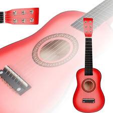 "New 23"" Beginners Practice Acoustic Pink Guitar 6 String Children Kids"
