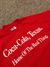 VTG 80's Coca Cola Texas HOME OF THE REAL THING Shirt Rare Hanes Promo Sign