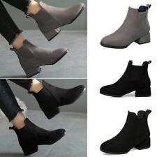 Women Suede Chelsea Ankle Boots Work Booties Low Block Heel Slip On Shoes Size