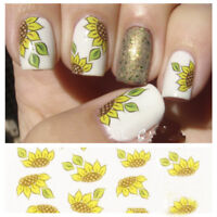 2PCS Spring Sunflower Nail Art Water Decals Stickers Transfer Stickers Manicure