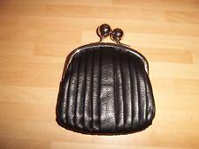 Clarks black pleated leather chrome ball clasp coin purse
