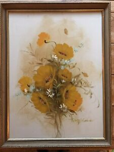 Vintage still life Signed oil painting Of Flowers