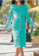 Midnight Velvet Aqua Formal Dinner Church Tropical Bliss Skirt Suit 6 12 16W 20W