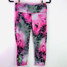 Athleta Women's Small Watercolor Crop Workout Leggings Pink Black