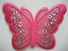 6 Deep  Pink  Butterflies Paillette Sequin Iron on/Sew on Patch