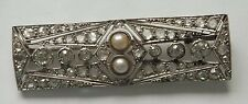 Art Deco Platinum 2ct Rose Cut Diamond 1920s Pearl Bar Brooch Pin