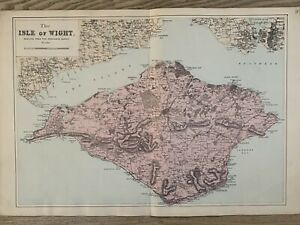 1884 The Isle Of Wight Antique Hand Coloured Map by Edward Weller