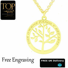 Personalised Family Tree Of Life Pendant Engraved Name Necklace Gold Plated Gift