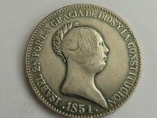 20 reales de 1851 CECA Madrid, Isabel II, Escasa; FALSA, No es de Plata