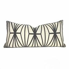 Kelly Wearstler Lee Jofa Katana Ivory Ebony Geometric Linen Lumbar Pillow Cover