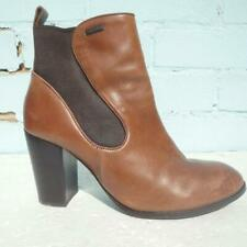 Superdry Leather Ankle Boots Uk 7 Eur 40 Elasticated Pull on Brown Chelsea Boots