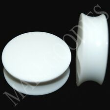 """0449 Double Flare Saddle Solid White Acrylic Ear Plugs Earlets 1-3/16"""" Inch 30mm"""