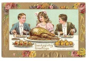Thanksgiving Greetings, Postcard, Posted 1911, Embossed, Printed in Germany.