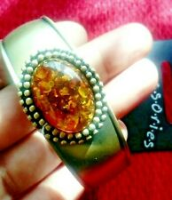 ANTIQUE STYLE GOLD BRONZE STATEMENT CHUNKY BRACELET AMBER Colour GLASS STONE