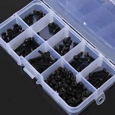 160pcs Metric M3 Black Nylon Screw Nut Assortment Set Stand-off Kit Box