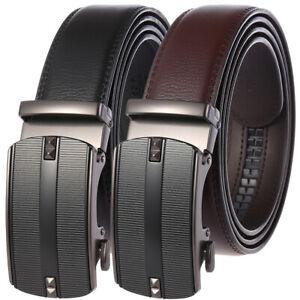 Luxury Men's Real Leather Belt Automatic Buckle Ratchet Waist Strap Jeans Dress